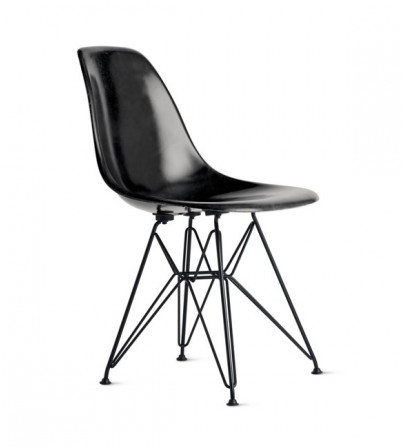 Eames Style DSR Plastic Side Chair (Black Metal Legs)