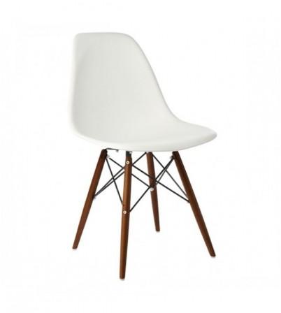Eames Style DSW Plastic Side Chair (Walnut Legs)