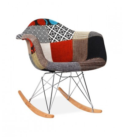 Eames Style Upholstered RAR Rocking Chair