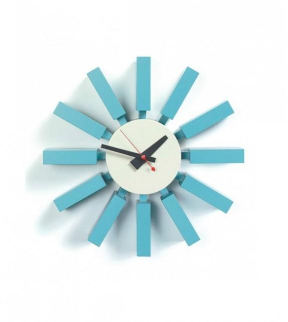 George Nelson Style Blue Block Clock