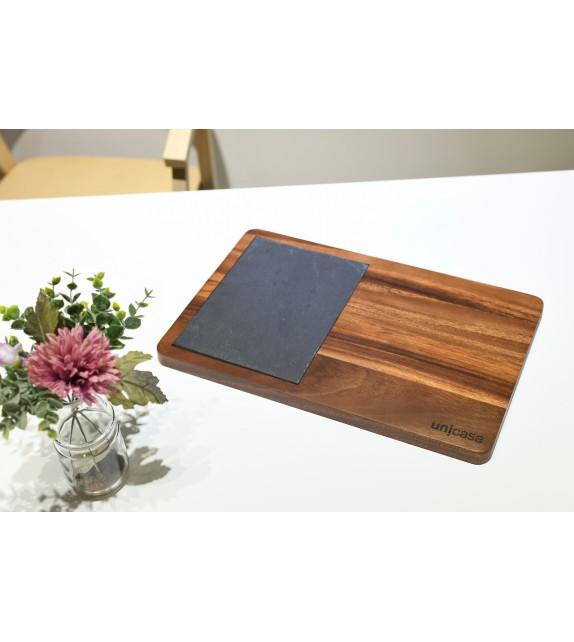 Cutting board with black slate