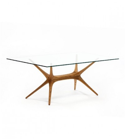 T.W Style X-Frame Glass Top Table
